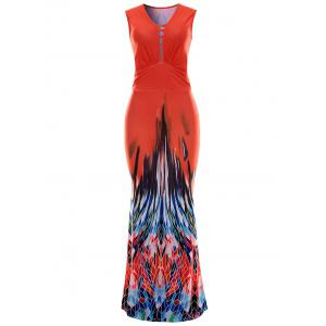 Sleeveless Printed Maxi Evening Dress - Red - S