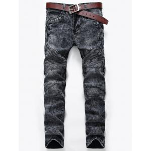 Snow Wash Zip Fly Biker Jeans