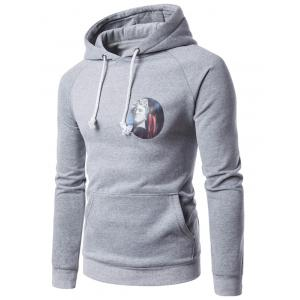3D Graphic Print Fleece Hoodie