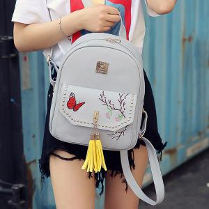 Tassels Embroidery Studded Backpack Set - GRAY
