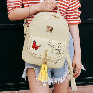 Tassels Embroidery Studded Backpack Set - PALOMINO