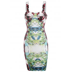 Plant Print Sleeveless Bandage Dress - Green - S