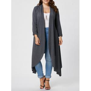 Plus Size Maxi Asymmetric Front Open Cardigan - Gray - Xl