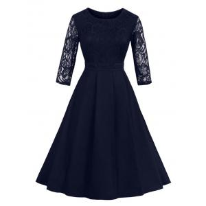 Vintage Lace Panel Fit and Flare Dress - Purplish Blue - M