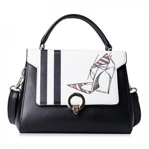 Print Metal Embellished Faux Leather Handbag - Black White