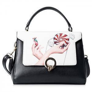Print Metal Embellished Faux Leather Handbag