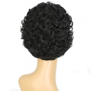 Short Side Bang Shaggy Curly Synthetic Wig - BLACK