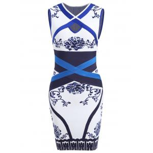 Jacquard Sleeveless Cross Bandage Dress