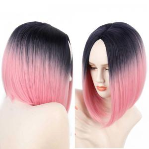Short Center Part Straight Ombre Inverted Bob Synthetic Wig - Black And Red