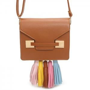 Metal Detail Tassels Crossbody Bag