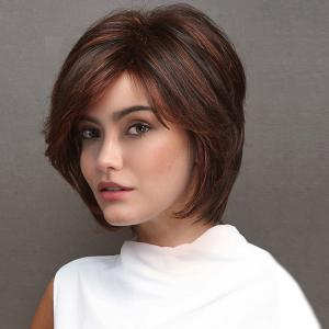 Short Side Bang Layered Straight Highlight Synthetic Wigs -