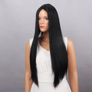 Middle Part Long Silky Straight Synthetic Wig - BLACK