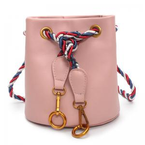 Drawstring Metal Rings Bucket Bag - Pink