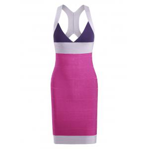 Color Block V Neck Bodycon Bandage Cage Dress - Colormix - L