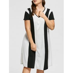 Two Tone Knee Length Plus Size Casual Dress