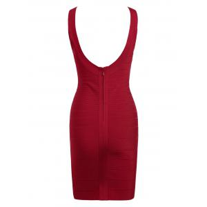 Club Sleeveless Mini Bandage Fitted Tight Dress - RED S
