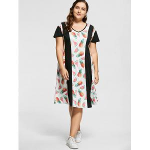 V Neck Watermelon Ananas Antiques Plus Size Dress -