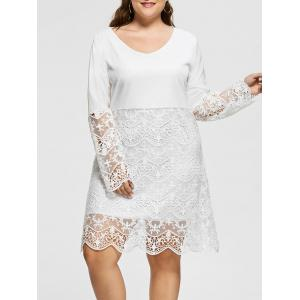 Long Sleeve Plus Size Lace Trim Dress - White - 5xl