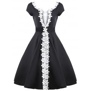 Contrast Color Appliques Vintage Dress
