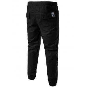Back Pockets Drawstring Beam Feet Jogger Pants - BLACK L