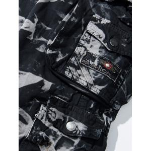 Camouflage Pockets Embellished Zipper Fly Cargo Pants - CAMOUFLAGE 36