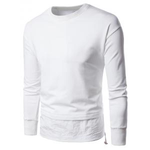 Panel Drawstring Design Long Sleeve Sweatshirt - White - Xl