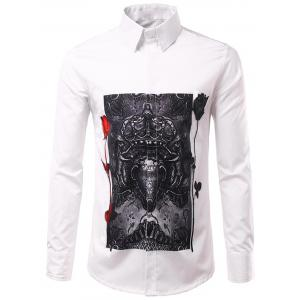 Long Sleeve 3D Roses Crown Print Shirt