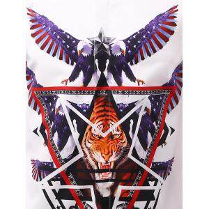 3D Eagle and Tiger Geometric Print Patriotic Shirt - WHITE 3XL