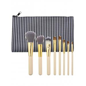 Portable 8Pcs Multipurpose Makeup Brushes Kit and Bag - Black - 39