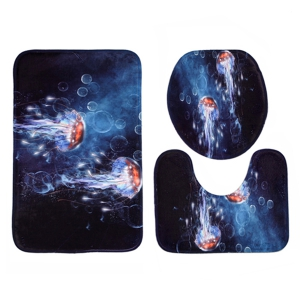 Coral Fleece Non Slip Jellyfish 3Pcs Bathroom Rugs Set - MIDNIGHT