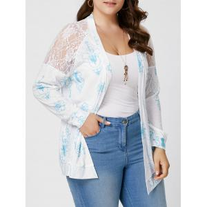 Sheer Back Lace Crochet Long Sleeve Plus Size Cardigan - White - 3xl