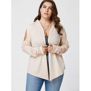 Plus Size Long Sleeve Cold Shoulder Draped Cardigan - APRICOT XL