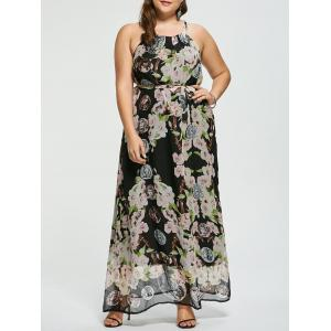 Floral Sleeveless Floor Length Plus Size Prom Dress - Multicolor - 3xl