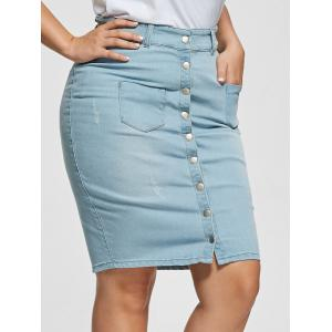 Light Wash Bodycon Button Up Denim Skirt
