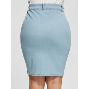 Light Wash Bodycon Button Up Denim Skirt - LIGHT BLUE 2XL