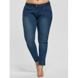 Ankle Length Skinny Plus Size Jeans - DENIM BLUE 3XL