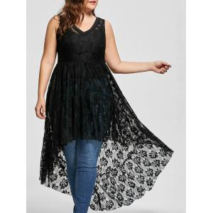 High Low See Through Lace Plus Size Top - Black - 3xl