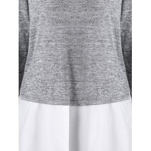 High Neck Two Tone Curved Hem Top - GRAY M