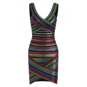 Bodycon Bronzing Rainbow Bandage Dress - Colormix - L