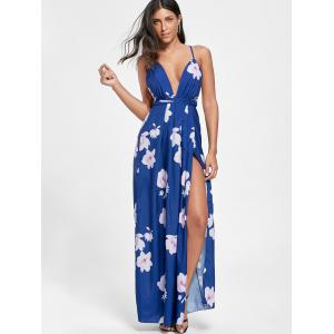 Low Cut Floral Maxi Slit Bohemian Dress - Bleu M