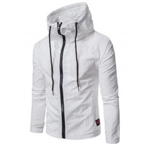 Hooded Drawstring Zip Up Lightweight Jacket