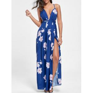 Low Cut Floral Maxi Slit Bohemian Dress
