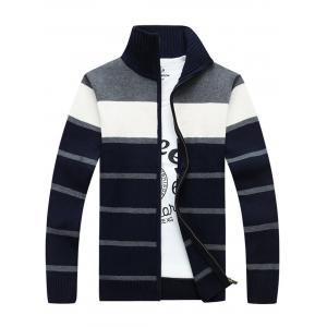 High Collar Stripe Cardigan