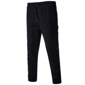 Drawstring Side Pockets Harem Pants - Black - M