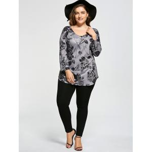 Floral Plus Size V-neck Long Sleeve Top -