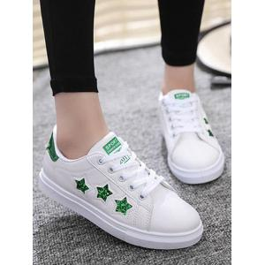 Sequins Star Pattern Flat Shoes - GREEN 39