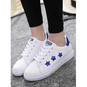Sequins Star Pattern Flat Shoes - BLUE 37