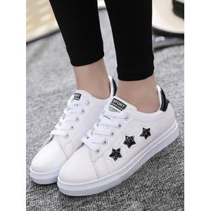 Sequins Star Pattern Flat Shoes - BLACK 39