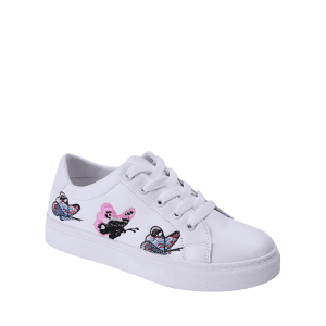 Butterfly Pattern Embroidery Flat Shoes - WHITE 38