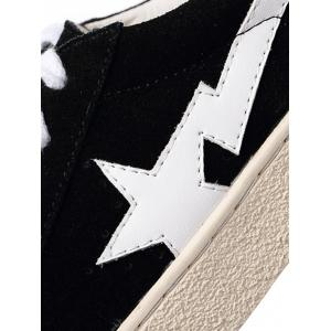 Faux Suede Star Patched Flats - BLACK 38